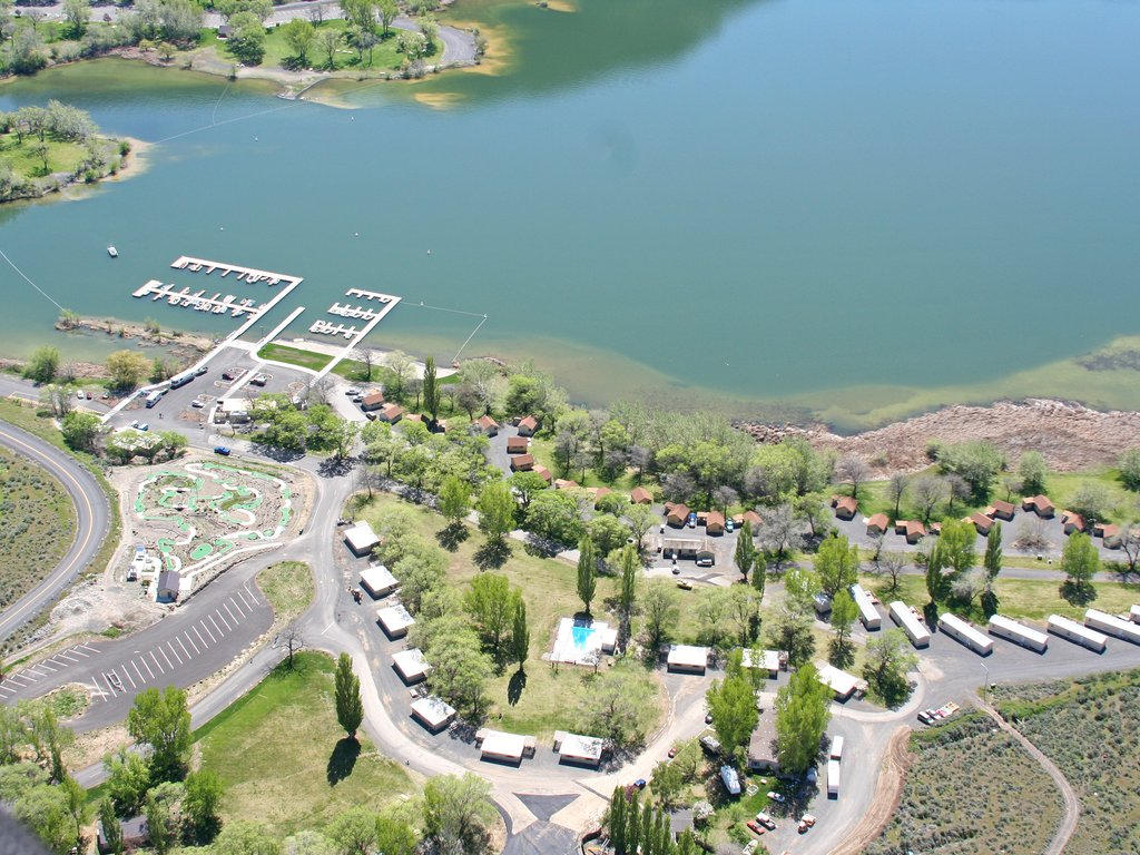 Aerial View Of Lakeside And Poolside Cabins