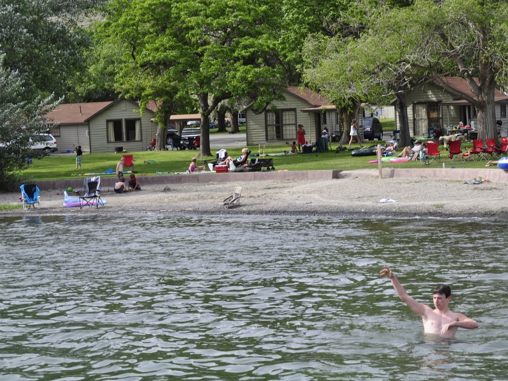 Swimming In Front Of The Lakeside Cabins